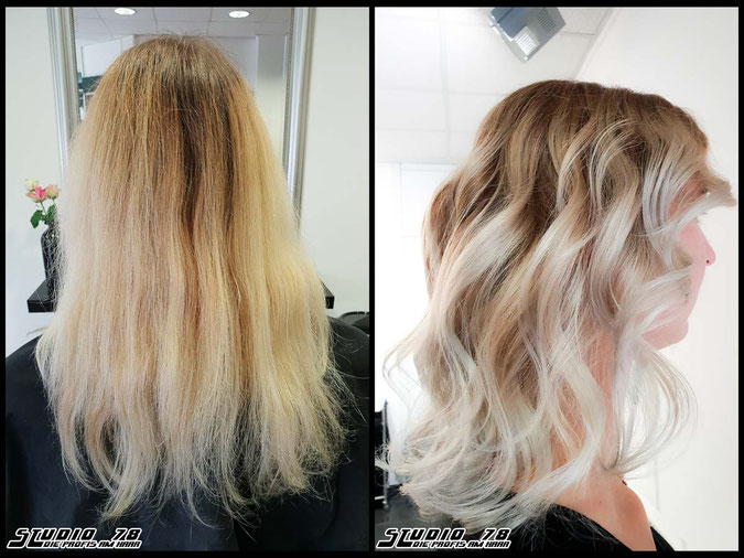 Coloration Haarfarbe  blonde blond perl pearl perlblond pearlblonde balayage coloration vorher nachher