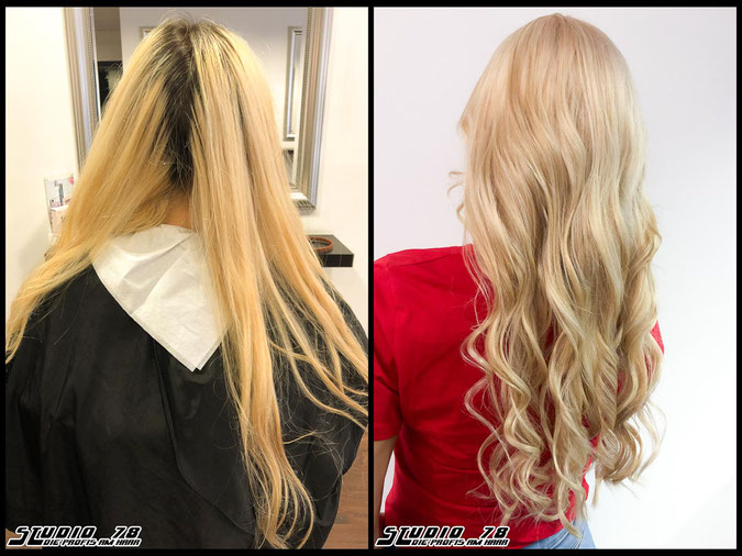 Coloration Haarfarbe wheat-blonde  nudeblonde blonde weizen-blond blond coloration vorher nachher