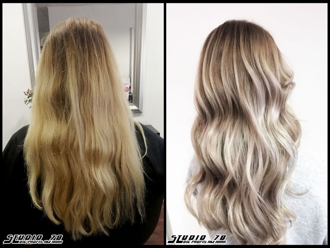 Coloration Haarfarbe blonde  nudeblonde iceblonde bright-white-blonde hellblond eisblond blond coloration vorher nachher