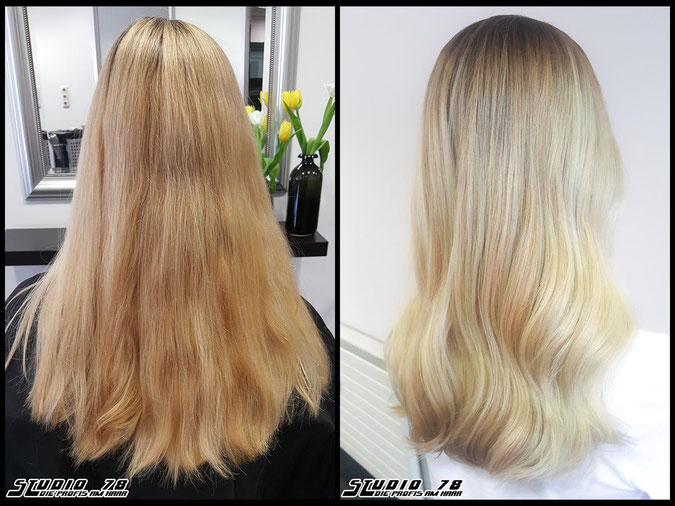 Coloration Haarfarbe nudeblonde  blonde silk silkblond blond coloration vorher nachher