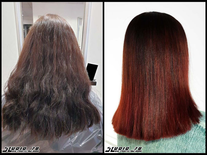 Coloration Haarfarbe rot red flame fiery balayage haircolor coloration vorher nachher