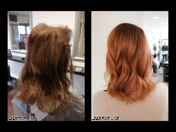 Coloration Haarfarbe kupfer copper kupferblond copperblonde vorher nachher