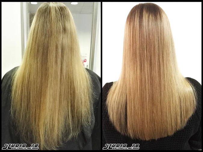 Coloration Haarfarbe blonde nudeblonde blond coloration vorher nachher