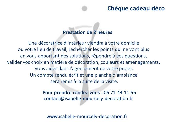 Carte cadeau visite conseil; Isabelle Mourcely-Décoration UFDI, décoratrice Centre Val de Loire; Tours-Chinon