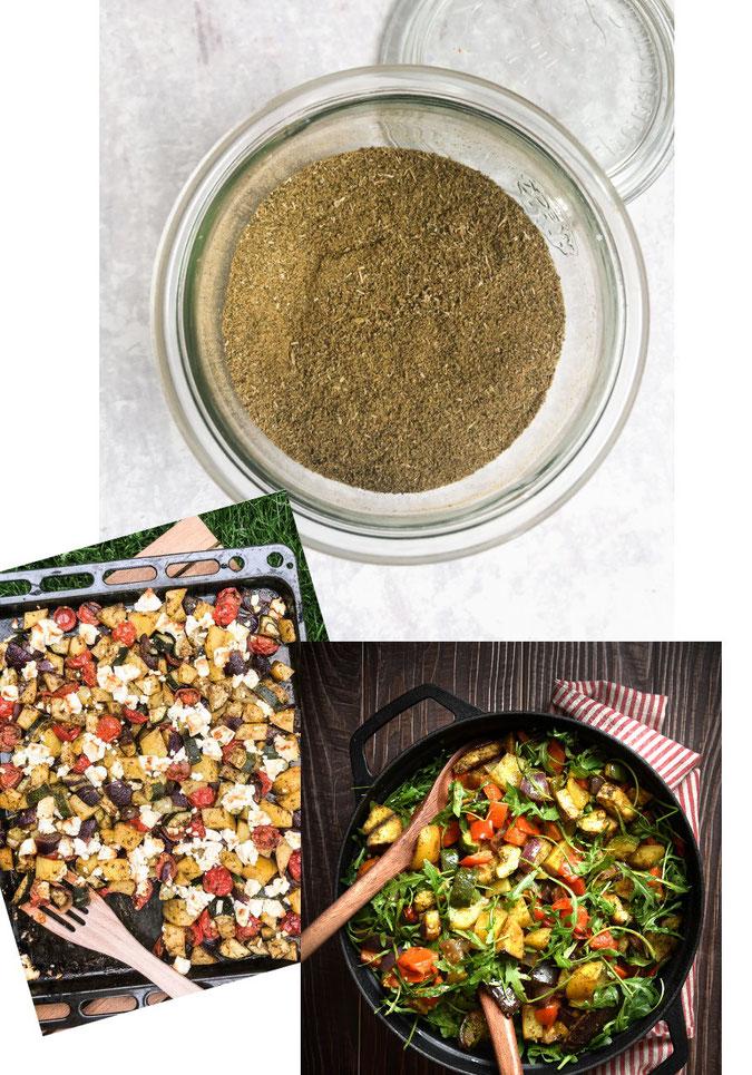 Würzmischung als Marinade für Ofengemüse, Kartoffel-Gemüse aus dem Ofen, Würzmischung kann auf Vorrat hergestellt werden, schnell und einfach