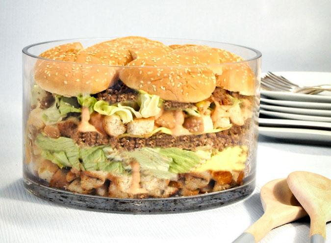 Big Mac Salat, funktioniert auch vegetarisch oder vegan