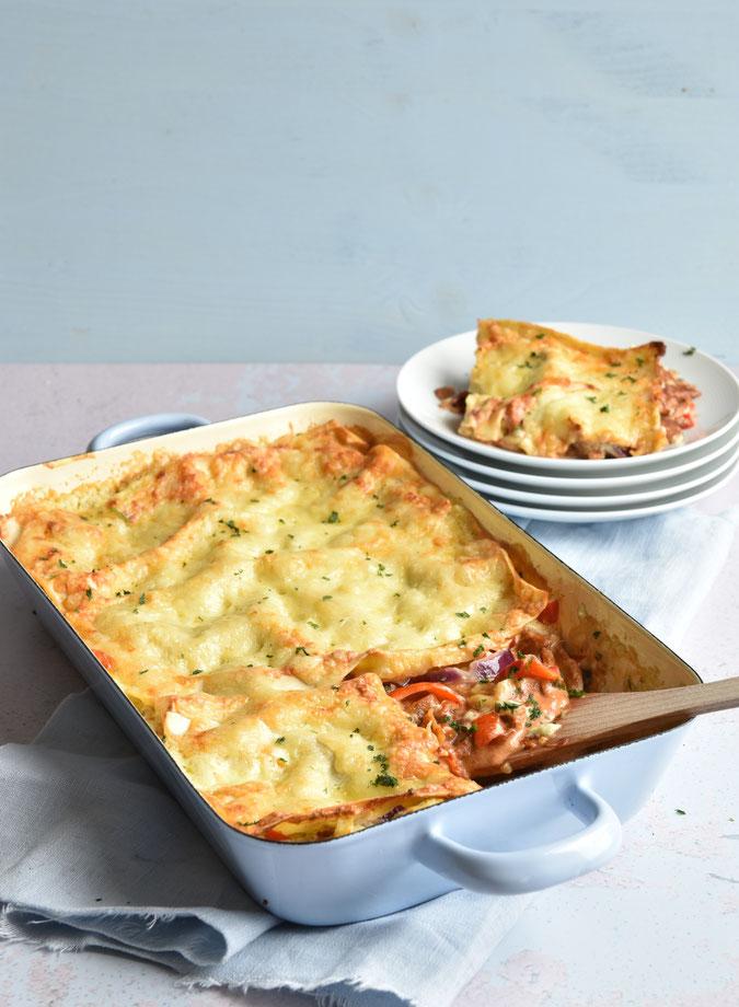 Gyros Lasagne mit Tzatzikisoße statt Béchamel - super lecker, einfach mal was anderes zur normalen Lasagne, vegetarisch, vegan möglich, Thermomix