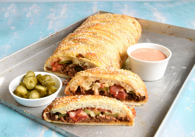 Cheeseburger Stromboli, vegetarisch, vegan möglich, Thermomix