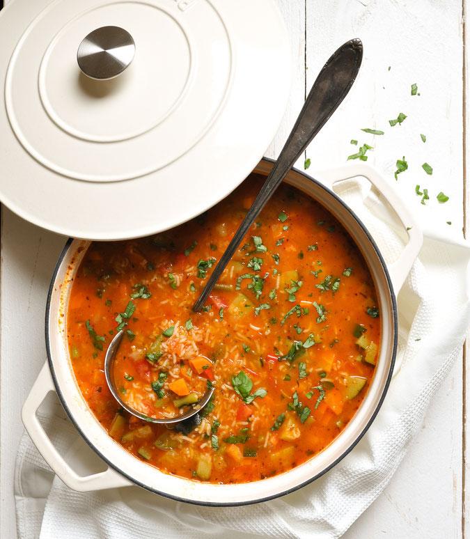 Minestrone mit Reis, vegetarisch, vegan möglich, Thermomix