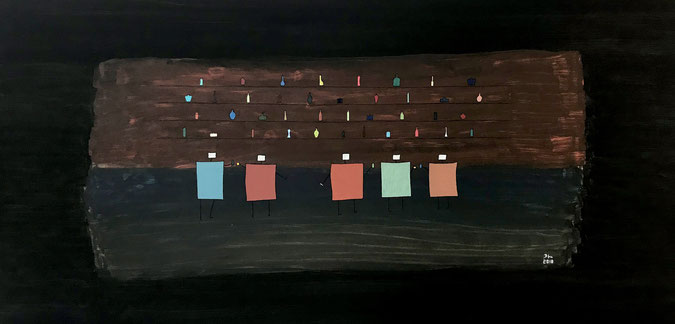 jobbar by dhin. 2018. oil on canvas. 120x60cm.