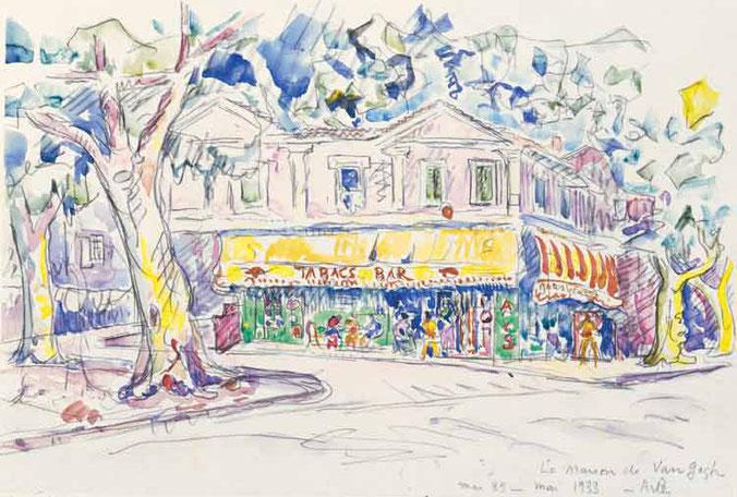 1932年にポール・シニャックが描いた「ゴッホの家」。