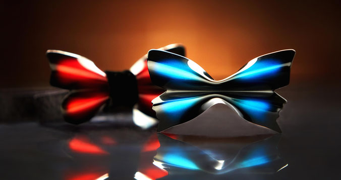 Metal Butterfly bow tie in the shape of a real-life butterfly.