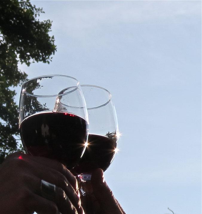 Rotwein, Gläser, Glas, Sonne, Abend, Weinglas