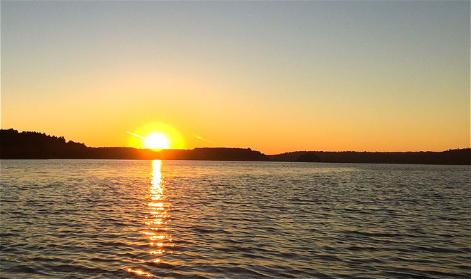 Sonnenaufgang August See Mecklenburg MV Paddeln Kajak