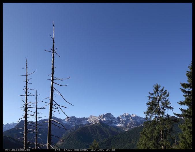 Ausblick auf die Nördliche Karwendelkette mit Östlicher Karwendelspitze und Vogelkarspitze.