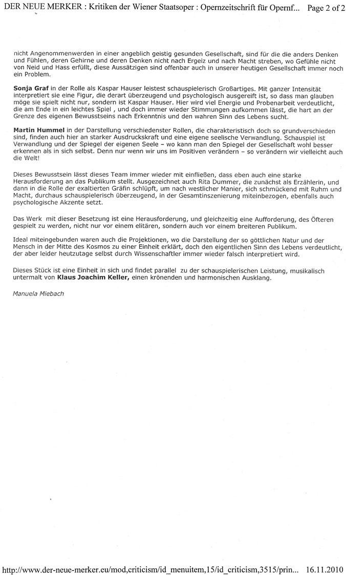 """""""Kaspar Hauser"""", Der neue Merker, 16.11.2010"""