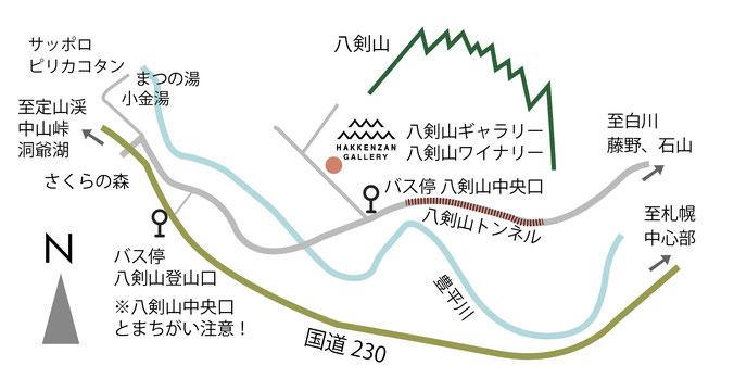 八剣山ギャラリー アクセスマップ