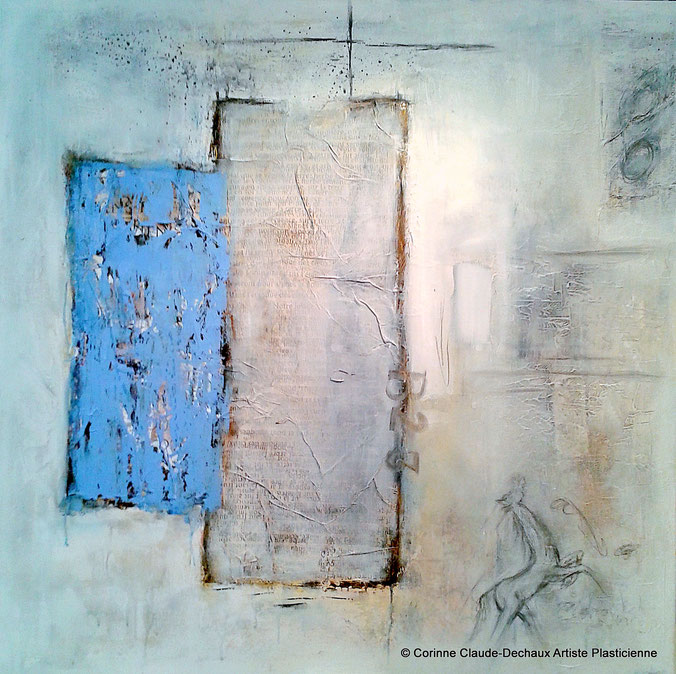 Mémoire des murs III -Huile , mine de plomb et technique mixte sur toile 100 x 100 - Oil and mixed media on canva