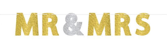 """Letterslinger """"Mr & Mrs"""" goud/zilver € 4,95"""