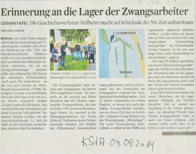Artikel zur Aufstellung der Gedenktafel Schlackenbergwerft im Kölner Stadtanzeiger vom 4. September 2014