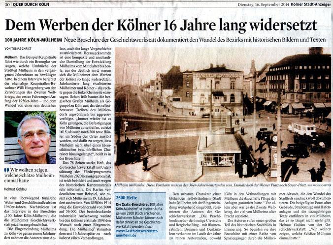 Halbseitiger Artikel zum Erscheinen der Broschüre »100 Jahre Köln-Mülheim« im Kölner Stadtanzeiger vom 16. September 2014
