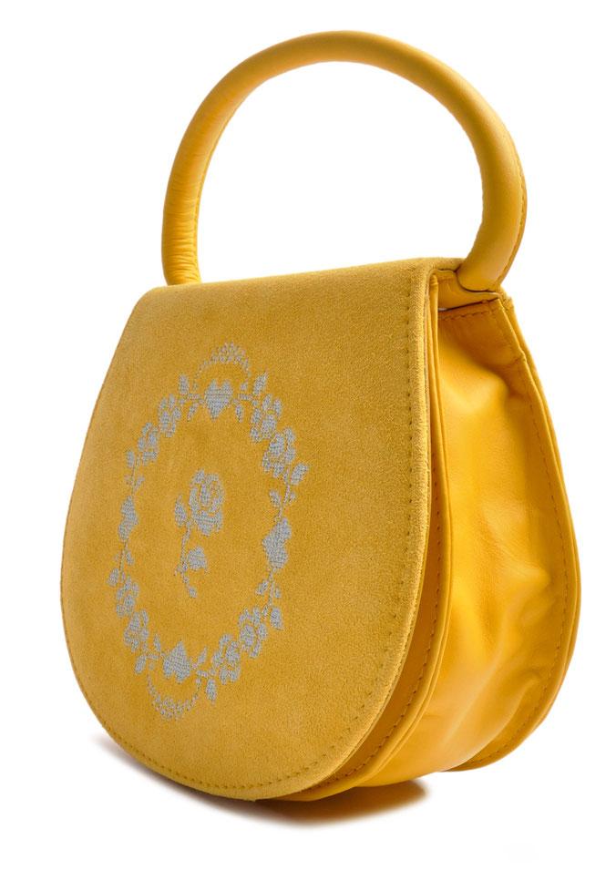 Edle Dirndltasche Leder gelb mit Stickerei OSTWALD Traditional Craft