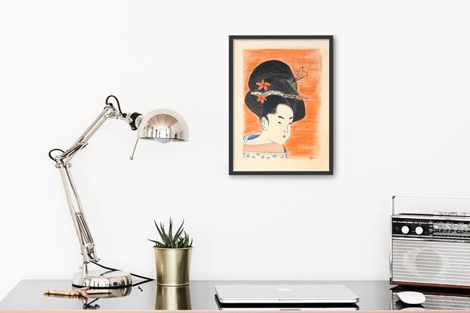 illustration geisha edo œuvre originale
