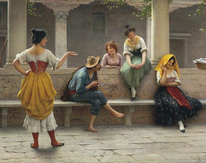"""Eugen Von Blaas, """"Gossip"""" (1903)"""