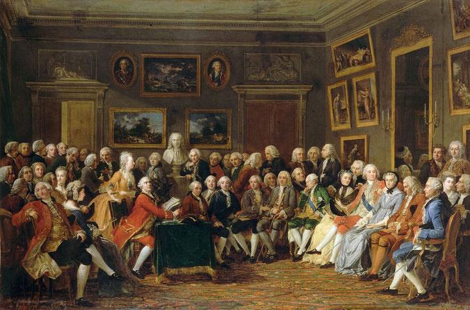 """Dipinto di Charles Gabriel Lemonnier rappresentante la lettura della tragedia di Voltaire, in quel tempo esiliato, """"L'orfano della Cina"""" (1755)"""