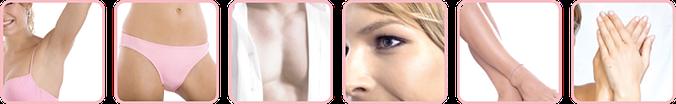 Behandlungszonen: Achsel, Intimbereich, Brust, Gesicht, Beine, Arme