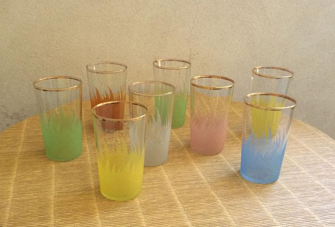 verres années 50, verres 50's, verre granité, verres vintage, verres anciens