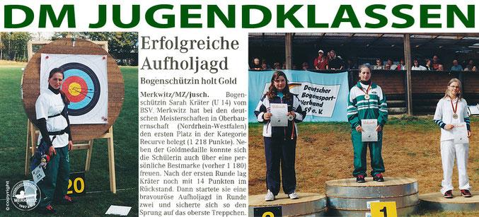 Gold für den BSV Merkwitz 1997 bei der DM Jugendklassen in Oberbauerschaft/ NRW