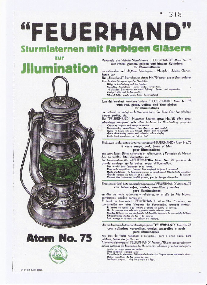 Werbeblatt um 1937