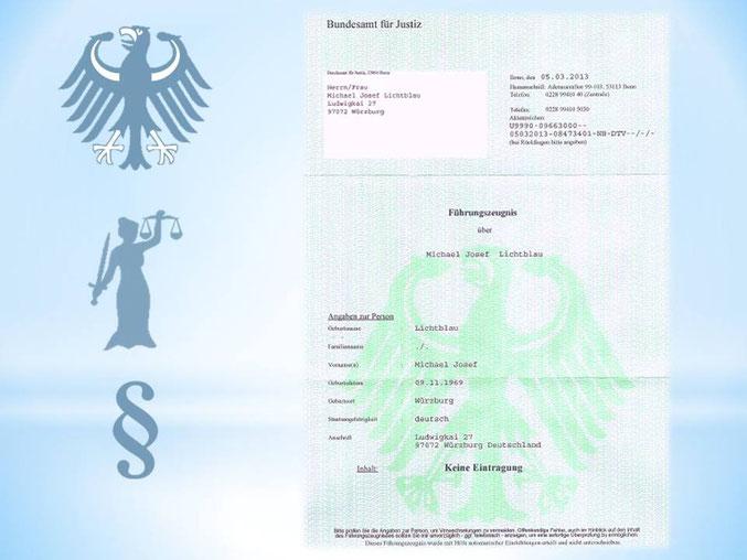 Polizeiliches Führungszeugnis von Herr Michael - Josef Lichtblau ...