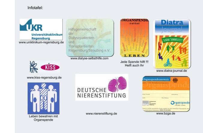 Infotafel mit verschiedenen Informationen zur Organspende