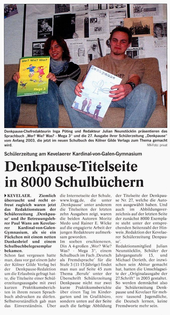 Niederrhein Nachrichten, 08.02.2005 (Denkpause in Schulbüchern)