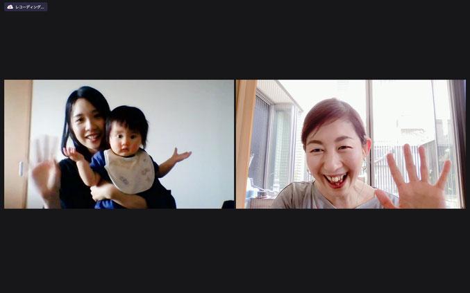 レッスン終了後、後日オンラインでインタビューしました!左がゆいちゃん、右が山本です。