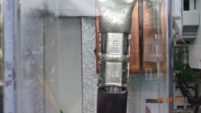 Kabelschuh auf Aluminiumkabel, Querschnitt 95mm², keine Pressung für Al-Kabel