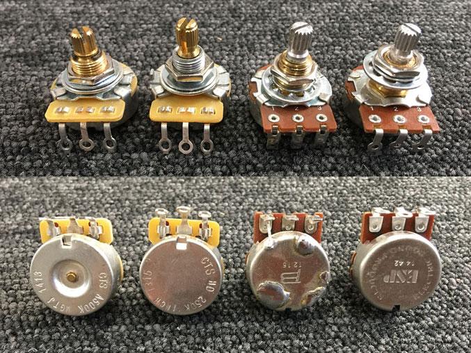 左からCTS(ビンテージタイプ)、CTS(標準品)、BOURNS(標準品)、ESP(BOURNS)