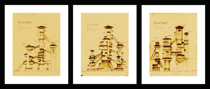 dibujos, arte fantastico, dibujo fantastico, paisajes fantasticos, dibujos a lapiz, dibujantes españoles, dibujo arquitectonico, arquitectura fantastica