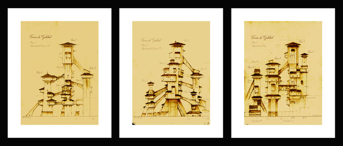 drawings, pencil drawings, fantasy architecture, technical drawings of fantasy buildings and constructions, blueprints and plans for fantasy, fantastic structures, fantasy art, drawings by Spanish artists