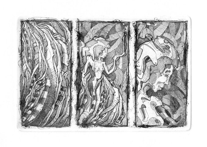 Triptyque / Eau forte  sur zinc / 12 x 18 cm / exemplaire unique / 2013