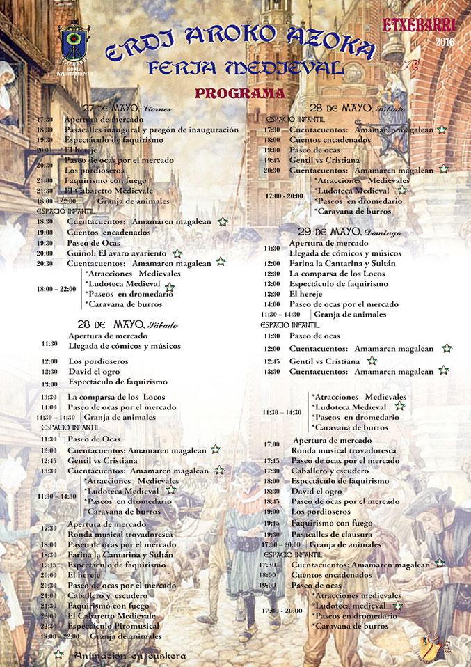 Programa del Mercado Medieval en Etxebarri