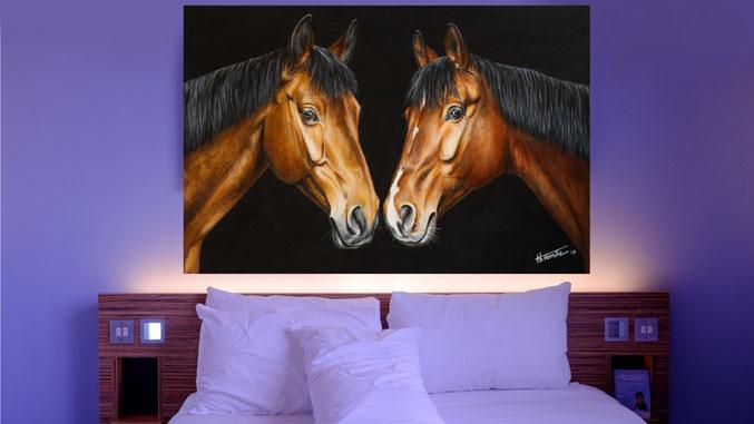 """Schlafzimmer Beispiel Acrylgemälde """"Hochzeitsgemälde Warmblüter"""""""