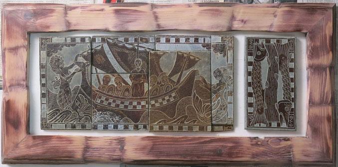 Escultura, grabado y dibujo sobre pizarra. La odisea y Ulises