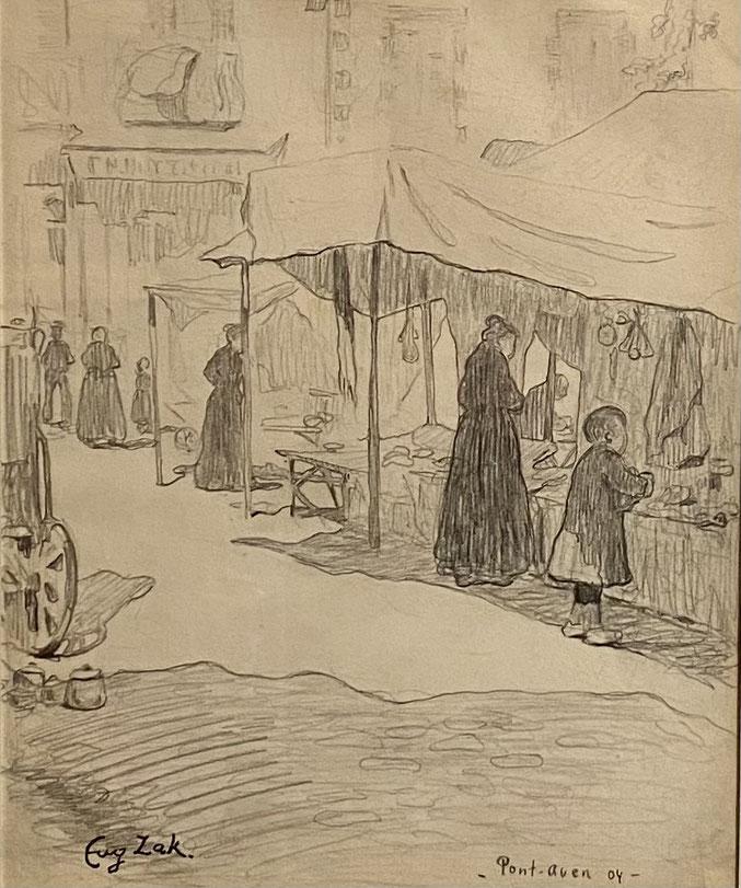 Eugène Zak,  Pont Aven ,1904 , mine de plomb sur papier/ pencil on paper, cachet de la signature, titrée et datée au crayon , 21 x 17 cm, galerie agnes thiebault, Paris