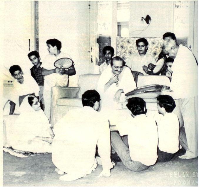 Guruprasad, Poona ; 1960s - Baba talking to Irwin, sitting besides Adi K Irani