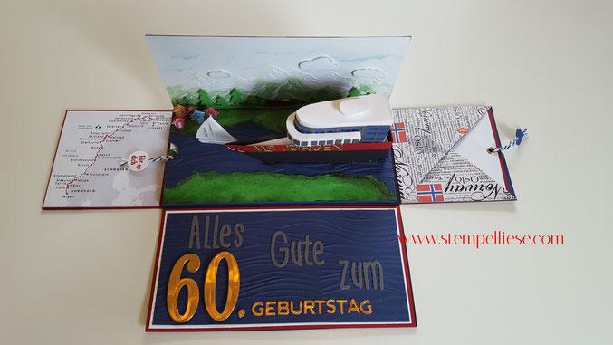 #Stampinup #stempelliese.com #kreuzfahrtschiff #Explsionsbox Kreuzfahrtschiff #Reisegutschein #Gutschein #DIY #Geldgeschenk #Norwegen #Hurtigruten