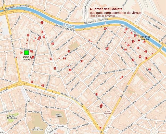 vitraux, carte du quartier Chalets Toulouse