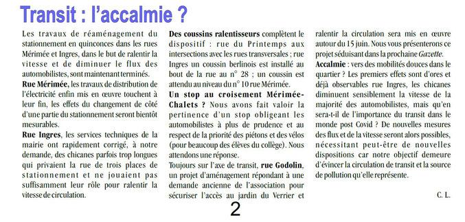 Extrait du n°106 de La Gazette - Eté 2021